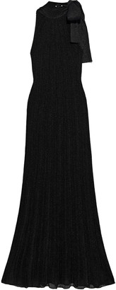 M Missoni Bow-detailed Metallic Crochet-knit Maxi Dress