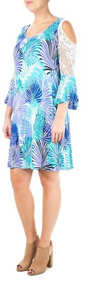 Nina Leonard Crochet Cold Shoulder Gauze Float Dress