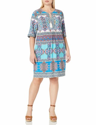 Sandra Darren Women's Plus Size 1 Pc 3/4 Sleeve Printed Ity Shift Dress