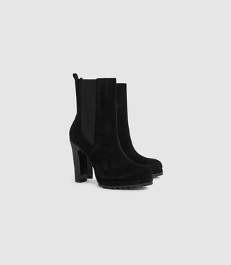 Reiss Amalia - Suede Heeled Ankle Boots in Black