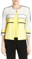 Ming Wang Women's Colorblock Stripe Short Knit Jacket