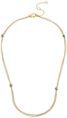 """AllSaints Two-Tone Knotted Double-Strand Delicate Chain Necklace, 15"""""""