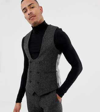 Twisted Tailor super skinny suit vest in charcoal donegal tweed-Gray