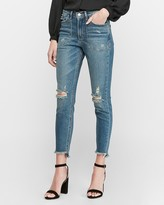 Express High Waisted Ripped Patch Pocket Jean Ankle Leggings