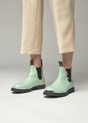 Lanvin Men's Chelsea Boot in Mint Green Size 39 Synthetic/Rubber