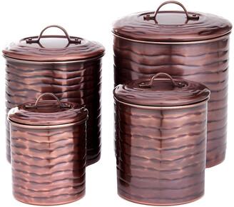 Old Dutch 4Pc Waveantique Copper Canister Set