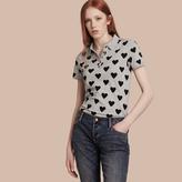 Burberry Heart Print Stretch Cotton Piqué Polo Shirt