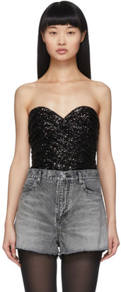 Saint Laurent Black All-Over Sequinned Bustier