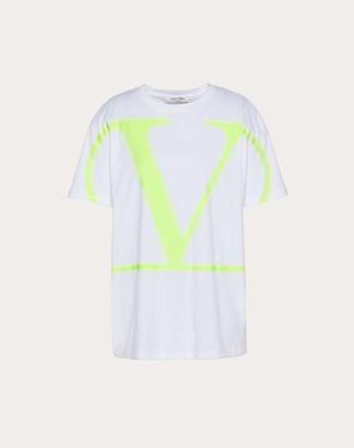 Valentino Vlogo Print T-shirt Women White/neon Fuchsia Cotton 100% M