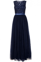 Quiz Navy Tulle Flower Embellished Maxi Dress