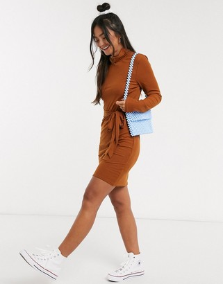 Brave Soul high neck jersey mini dress with tie waist in brown