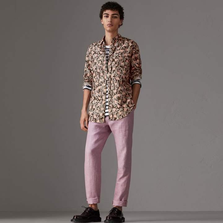 Burberry Figurative Print Linen Cotton Shirt