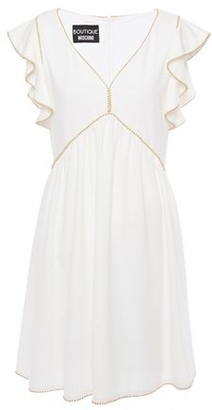 Boutique Moschino Gold Tone-trimmed Ruffled Stretch-cady Mini Dress
