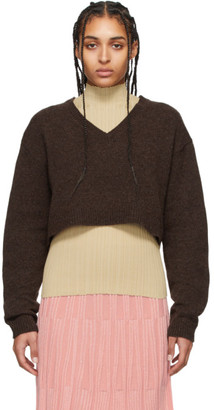 Acne Studios Brown Wool Cropped V-Neck Sweater