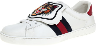 Gucci White Leather, Python Trim And Web Detail Lion Patch Ace Low Top Sneakers Size 44.5