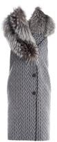 Fendi Fox Fur Collar Geometric Kimono Wool Vest