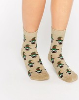 Asos Holidays Glittery Pug In Elf Hat Ankle Socks In Bauble