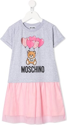 MOSCHINO BAMBINO Teddy Bear print tulle dress