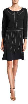 Joan Vass Boat-Neck 3/4-Sleeve Dress with Studs
