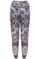Quiz Blue And Pink Paisley Print Harem Trousers
