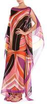 Emilio Pucci Stella Silk Boat-Neck Caftan Maxi Dress, Purple/Pink