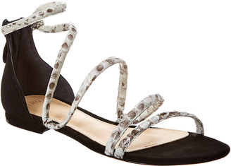 Alexandre Birman Gianny Snake-Embossed Leather & Suede Sandal