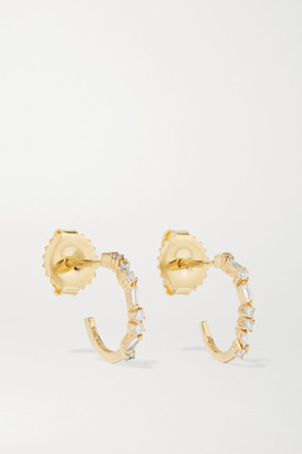 Suzanne Kalan 18-karat Gold Diamond Hoop Earrings
