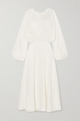 Anine Bing Serena Silk-jacquard Midi Dress - White