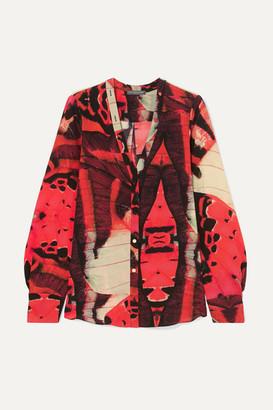 Alexander McQueen Printed Silk-crepe Blouse - Red