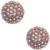 Anne Klein Rose Goldtone and Crystal Ball Stud Earrings
