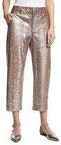 Brunello Cucinelli Metallic Python Cropped Pants, Gray