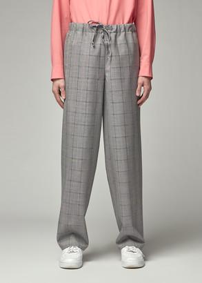 Overcoat Men's Wide Leg Drawstring Trouser Pants in Glen Check Size 2 Wool/Mohair