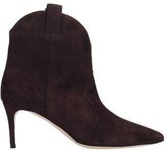 Dei Mille High Heels Ankle Boots In Brown Suede