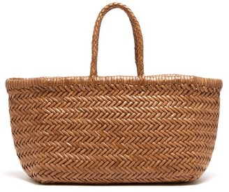 DRAGON DIFFUSION Triple Jump Large Woven-leather Basket Bag - Tan