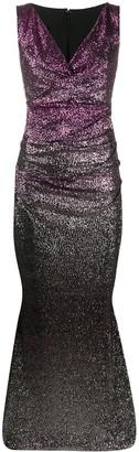 Talbot Runhof Sequin Ruched Gown