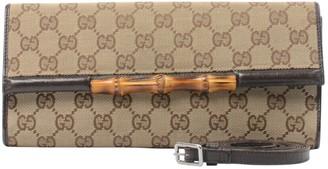 Gucci Bamboo Brown Cloth Clutch bags