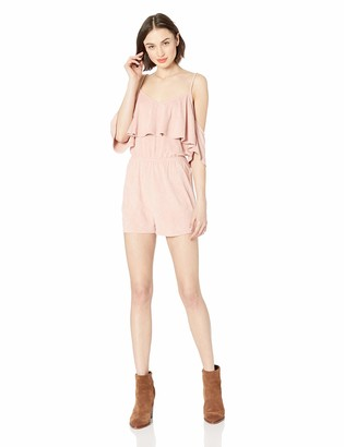 Jack by BB Dakota Womens Suede into You Cold Shoulder Romper