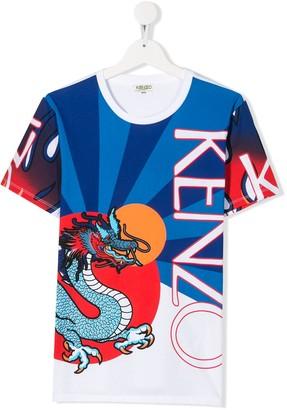 Kenzo TEEN dragon-print logo T-shirt