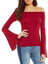 Buffalo David Bitton Off-the-Shoulder Bell Sleeve Knit Top