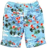 Flower Printed Cotton Canvas Shorts