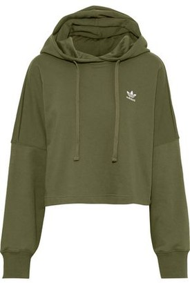 adidas Cropped Embroidered French Cotton-blend Terry Hoodie