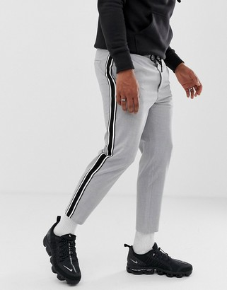 Bershka trousers in grey with side stripe in straight fit