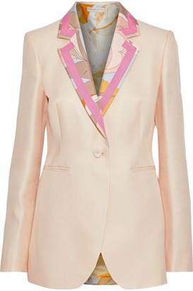 Emilio Pucci Printed Satin-trimmed Wool And Silk-blend Twill Blazer