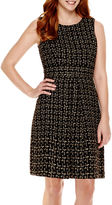 Liz Claiborne Sleeveless Metallic Tweed Fit-and-Flare Dress