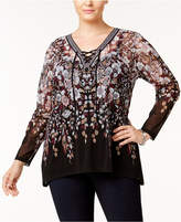 INC International Concepts I.N.C. Plus Size Lace-Up Tunic, Created for Macy's