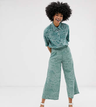 Monki cropped wide leg trousers with elastic waist and cloud print in turquoise-Blue