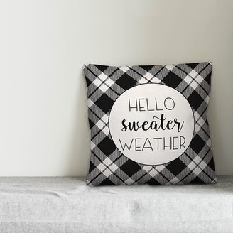 "Anastasia Beverly Hills Gracie Oaks Hello Sweater Weather Throw Pillow Cover Gracie Oaks Size: 20"" x 20"""