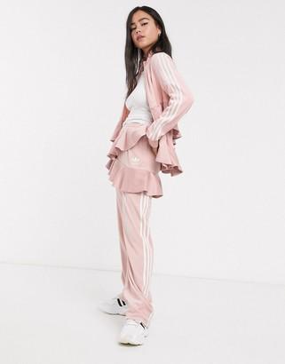 adidas x J KOO velour trefoil ruffle track pant in pink