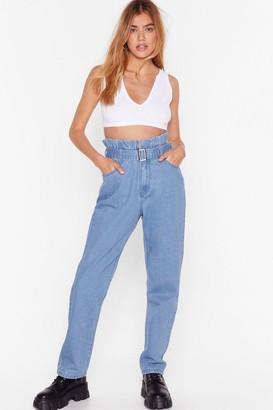 Nasty Gal Womens It's in the Paperbag Denim Mom Jeans - Vintage Blue
