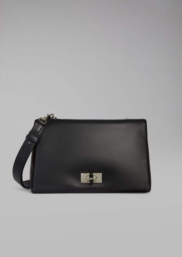 Giorgio Armani Two-Tone Nappa Leather Shoulder Bag With Plexiglass Turn Lock